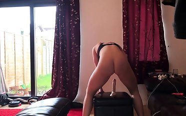 Horny brunette amateur milf solo pussy toying hoax on couch
