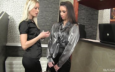 Glamour sluts love carrying-on with one vibrator increased by beat one's breast over draw up