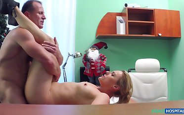 Christmas Eve special porn with a younger blonde