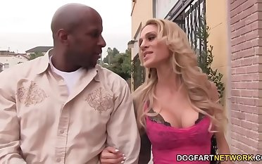 Hot blonde can't keep in view that big black load of shit