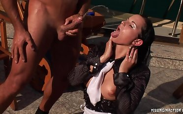 Clothed girl upon stockings Pissing hardcore at outdoor