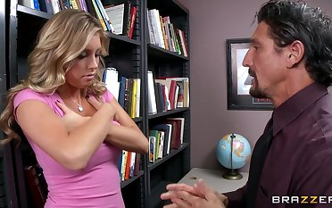 Fucking in the office ends with cum on bowels for sexy Samantha Saint