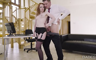 Sexy girlfriend Ella Hughes teases in stockings and rides will not hear of BF