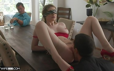 Cuckold with the blind folded wife