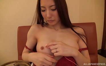 Desirable Japanese pornstar Riko Honda spreads her legs to be fucked