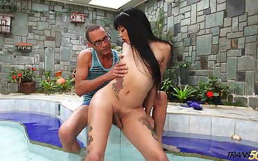 Big racked tattooed ladyboy Sofia Restrepo wanna be brutally hammered