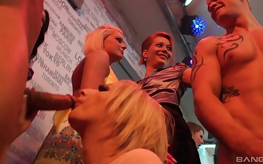 Hardcore fucking during a large party with lot of male strippers