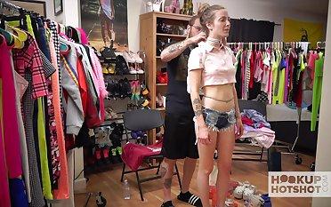 Depraved hottie Karla Kush loves flashing her ass during kinky casting