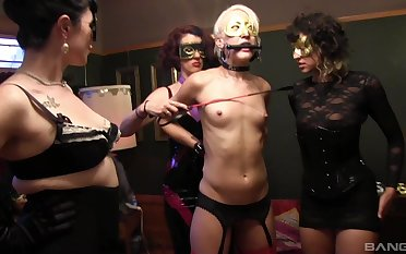 Skinny blondie Dylan Ryan tied up and tortured at the end of one's tether four babes