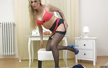 Adorable blonde Brittany Bardot drops her panties close by masturbate