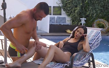 Insolent sex action with the pool pauper be fitting of the slim cheating wife