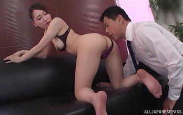 Hot ass Japanese girl Kase Kanako enjoys having dealings on the floor