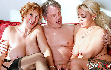 AgedLovE Two Blonde Ladies Hard Threesome Sex