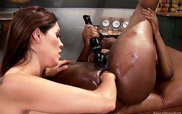 Ebony lesbian impenetrable depths anal fisted