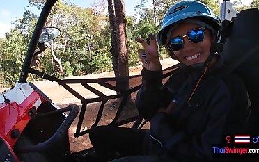 Amateur Thai teen girlfriend POV blowjob after a day out having fun