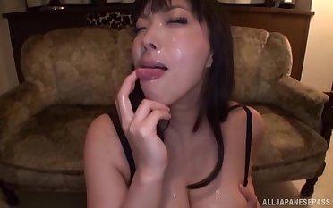 Blindfolded Japanese girl Sankihon Nozomi sucks lot of cocks
