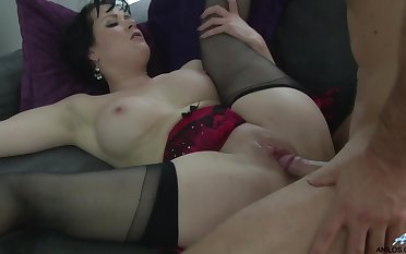 Shaved pussy wife Tanya Cox in lingerie and stockings gets fucked
