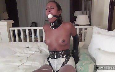 Hot nymph BDSM unskilful adult scene