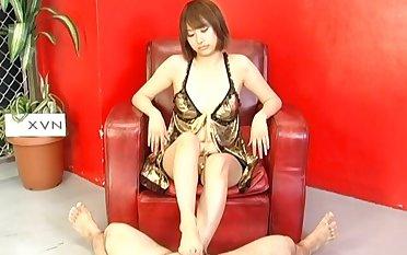 Reimi Fujikura in shaved pussy crippling lingerie in headquarter fetish video