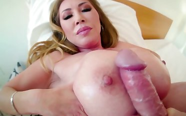 Raunchy MILF plays with a large pecker in this POV scene