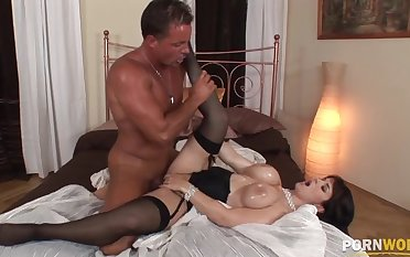 Gaffer brunette Kathy teat fucks and has will not hear of asshole pounded in doggy GP1223
