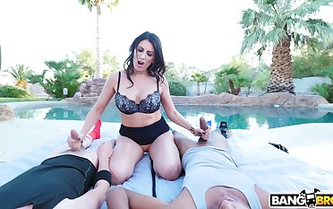 Out of the closet MMF interracial triplet by the pool - Makayla Coxxx
