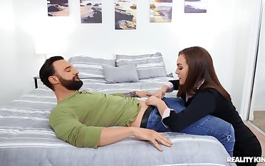 Erotic fucking with the bedroom with beloved Freya Parker with stockings