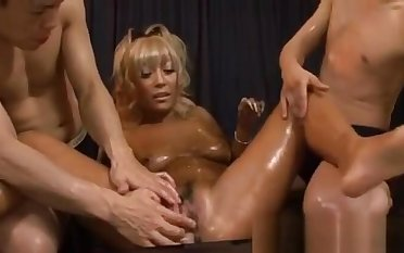 Hot Japanese beau experiences uncouth group sex