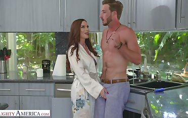 Scrumptious red haired mommy Diamond Foxxx seduces handsome stepson